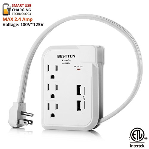 BESTTEN 3 Outlet Mini Power Strip Surge Protector (Max 125V) with 2.4A Dual USB Charging Ports, 18-Inch Cord, Portable for Home Office & Travel, ETL Certified, White
