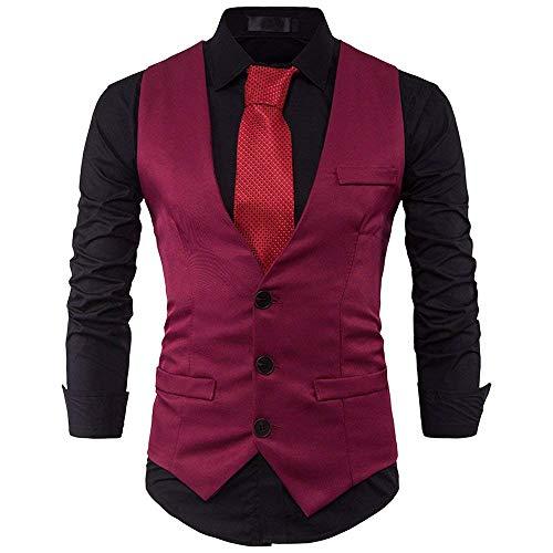 Con Business Monopetto Slim Tuxedo Vest Men Scollo V Giovane Blazer Uomo Da Wedding A Gilet Winered Fit hQsrdt