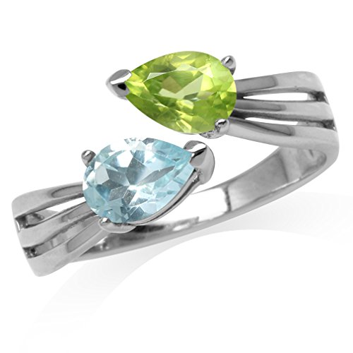Natural Pear Shape Peridot & Blue Topaz White Gold Plated 925 Sterling Silver Bypass Ring Size 9