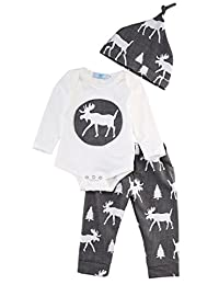 3Pcs Set Newborn Baby Boys Reindeer Long Sleeve Bodysuit Pants Hat Outfits Xmas