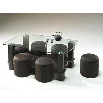 Basse EncastrableVerreSimili CuirMarron Table Poufs Avec 6 N8wmyn0vO