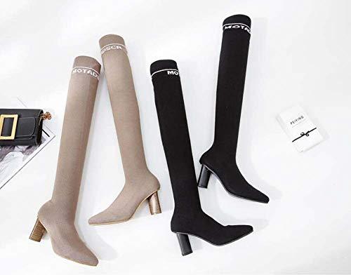 Bottes Mamrar Stretch Chunkly Chaussures La Cuissardes 35 OL Poêle Bottes Chaussettes Cour Pointu Laine Bottes Talon Chaussures Orteils De 7Cm De 39 Femmes Black YY8wPq