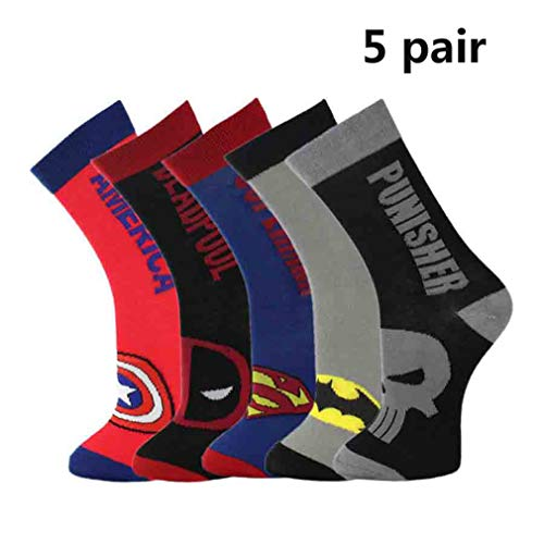 Hero-Theme Dress Socks 5 Pair Deadpool Superman Batman Captain America Punisher for Men Women Halloween Party Costume Daily ()