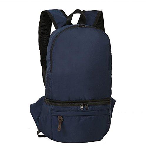 BUSL Gran capacidad salidas al aire libre senderismo bolsa impermeable de nylon plegable de 28L Mochila bolsa de almacenamiento . brown Blue
