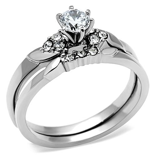 stainless steel wedding ring sets beautiful cut stainless steel aaa cz wedding ring 7661