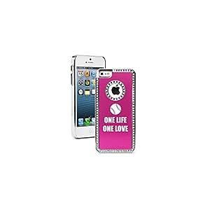 Apple iPhone 5c Hot Pink CS1707 Rhinestone Crystal Bling Aluminum Plated Hard Case Cover One Life Baseball Softball