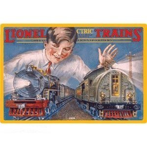 Railroad Tin Sign-Lionel - Boy With Trains