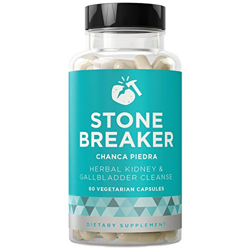 STONE BREAKER Chanca Piedra - Kidney and Gallbladder Detoxifying Cleanse - Chronic Pain, Nausea, Frequent Urination - Hydrangea & Celery Seed - 60 Vegetarian Soft Capsules - Soft Stone