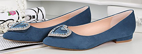 Aisun Womens Fashion Comfy Rhinestone Heart Low Cut Pointed Toe Dress Slip On Flats Shoes Pumps Low Heels Blue L2ZDPPtogt