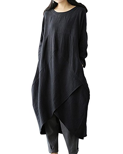 Jacansi Women Vintage Cotton Linen Solid Asymmetrical Hem Swing Maxi Dress with Pocket Black 3XL