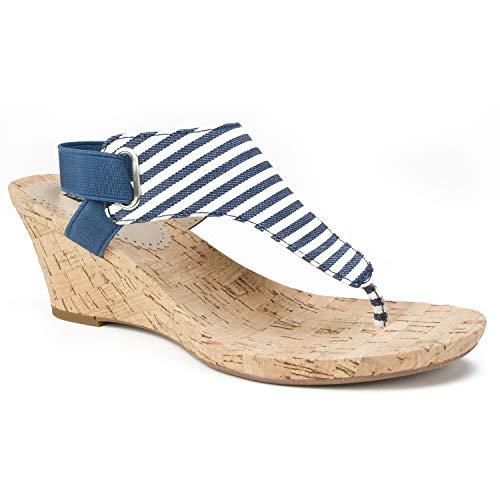 (WHITE MOUNTAIN Women's All Good Wedge Sandal, Navy/White Stripe, 7.5 M US )