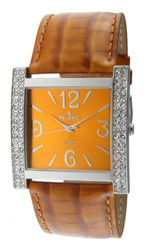 Peugeot Women's 324MS Silver-Tone Swarovski Crystal Accented Mustard Leather Strap Watch