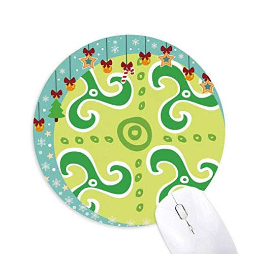 (Green Spiral Dart Mexico Totems Ancient Civilization Mouse Pad Jingling Bell Round Rubber Mat)