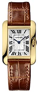 Cartier Tank Anglaise Small Silver Dial Ladies Brown Leather Strap Watch W5310028