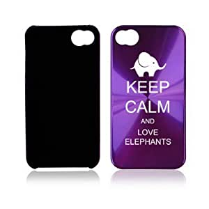 Apple iPhone 4 4S 4G Purple A2096 Aluminum Hard Back Case Cover Keep Calm and Love Elephants