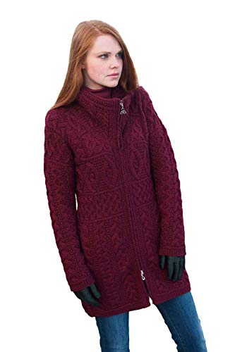 - 100% Irish Merino Wool Double Collar Aran Knit Coat, Wine, Small