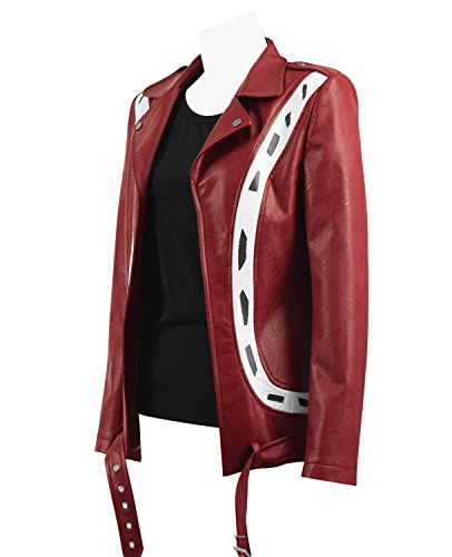 2018 Hot Movie Player One Artemis Costume Women Red PU Leather Biker Jacket (Red, US Women-S) ()