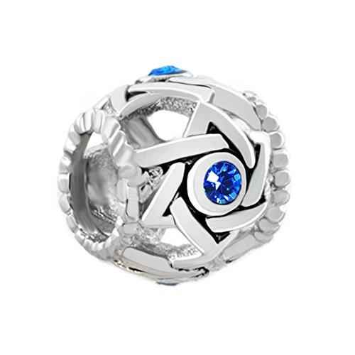 LovelyJewelry Birthstone Sapphire Blue Rhinestone Crystal Filigree Star Of David Drum Bead s Bracelet
