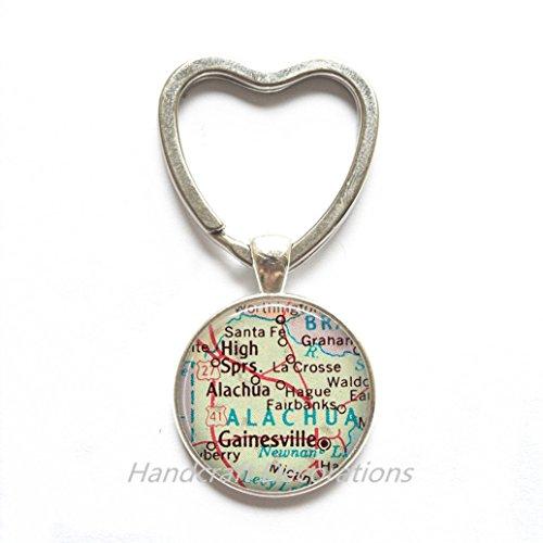 Charming Heart Keychain,Gainesville, Florida map Key Ring, Gainesville Heart Keychain, Gainesville map Key Ring, Gainesville Key ()