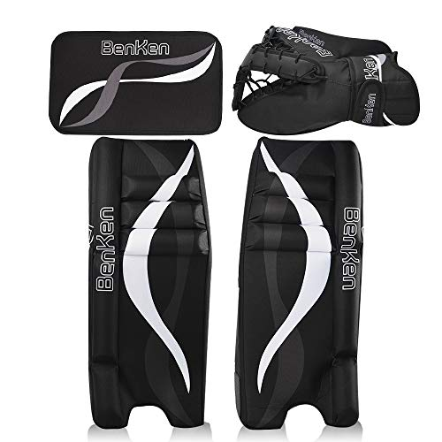 (BenKen Sports Hockey Gear Goalie Pad Pack Ice Hockey Equipment Teenager & Kids Blue Black (Black 24''))