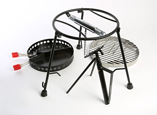 CampMaid 4 Piece Combo Lid holder, Charcoal Holder, Flip Grill and Kick Stand, Perfect for Outdoor Adventures Family - Oven Dutch Table Cooking