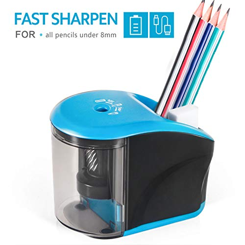 Electric Pencil Sharpener, INVOKER Auto Pencil Sharpener Heavy Duty Helical Blade for No.2/Colored Pencils to Fast Sharpen, School Supplies for Office Classroom Home (USB/AC Adapter Included)