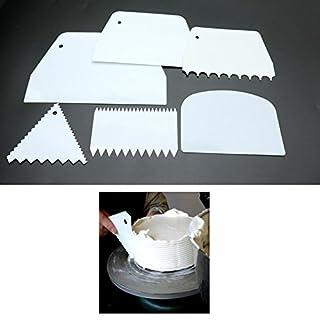 Milcraft Set of 6 Pcs Cake Scrape Smoother Comb Cake Edge Side Decorating Tools Scraper