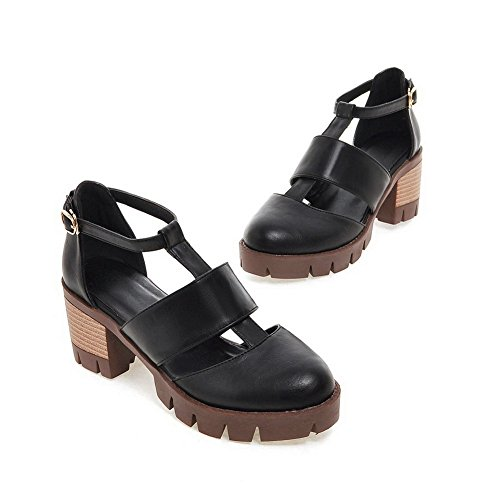 Black Marking DIU00802 Sandals Kitten Solid Heels AN Urethane Womens Non zEqwxpF