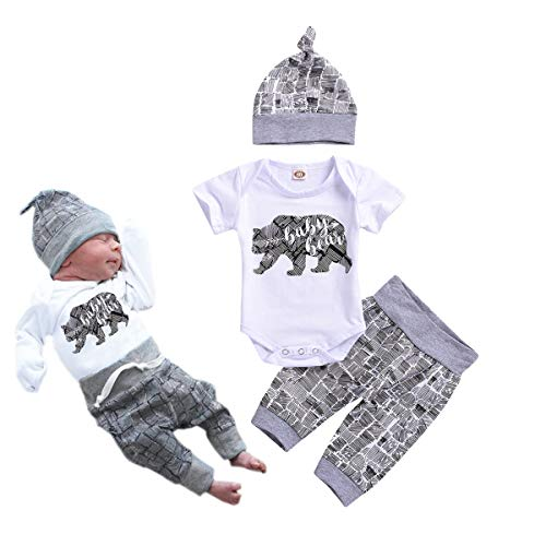 Newborn Baby Boy Clothes Baby Bear Letter Print Romper+Long Pants+Hat 3PCS Outfits Set (White, 0-3Months)