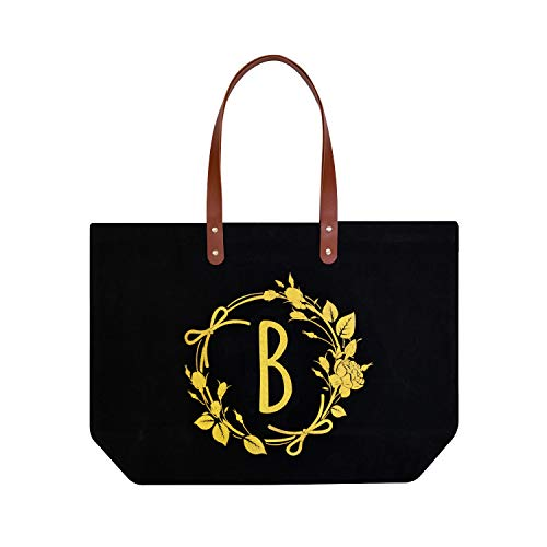 ElegantPark B Initial Monogram Personalized Party Gift Tote Black Large Shoulder Bag with Interior Zip Pocket Canvas -