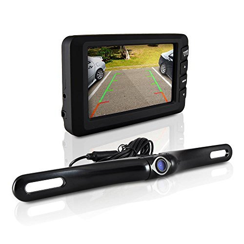 Pyle Wireless Backup Camera & Monitor Kit For Car, Universal Waterproof License Plate Car Backup Parking Camera + 4.3 TFT/LCD Rear View Monitor, Parking Safety, Tilt-Adjustable Dash Cam w Night Vision