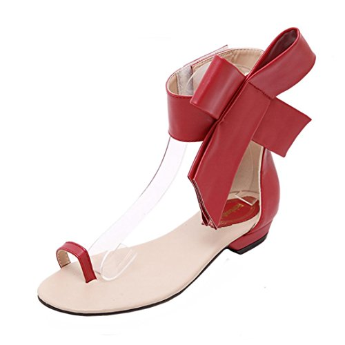 Fullfun Women Sandals, Ladies Simple Fashion Flat Heel Bowknot Sandals, Hoop & Loop (7, Red) - Stiletto Heel Satin Top