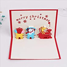 3D Christmas Greeting Card Color Print Three-Dimensional Handmade Christmas Train Greeting Card, 5 Pack