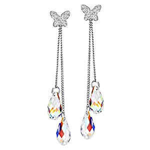 NEOGLORY Jewelry Teardrop Platinum Plated Drop Earrings Embellished with Crystals from Swarovski