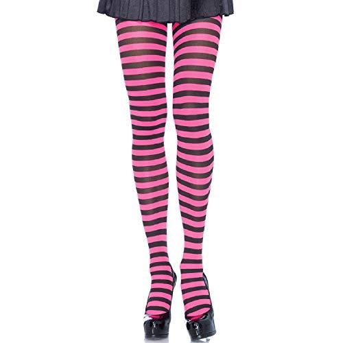 Leg Avenue Women's Nylon Striped Tights, Black/n.pink, One Size