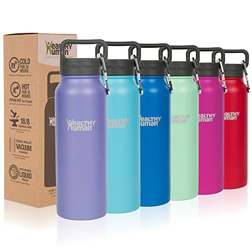 Healthy Human Classic Collection Stainless Steel Vacuum Insulated Water Bottle | Keeps Cold 24 Hours, Hot 12 Hours | Double Walled Water Bottle | 32 oz Lilac (Best Healthy Water Bottle)