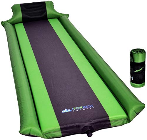 IFORREST Sleeping Pad with Armrest & Pillow - Ultra Comfortable Self-Inflating Foam Air Mattress is Ideal for Travel, Camping & Hiking, Backpacking, Cot, Hammock, Tent & Sleeping Bag! (Green)