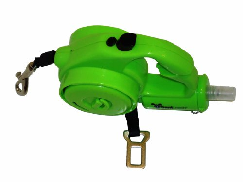 Sanileash Retractable Pet Leash with Built-In Hand Sanitizer, 16-Feet Cord, Green, My Pet Supplies