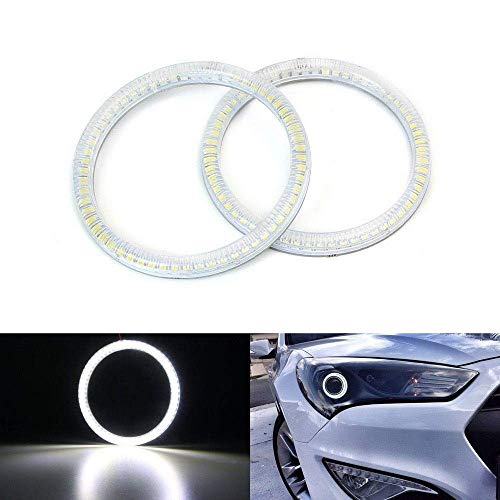 iJDMTOY 6000K Xenon White SMD LED Angel Eyes Halo Rings Compatible With 2010-up Hyundai Genesis Coupe 2-Door