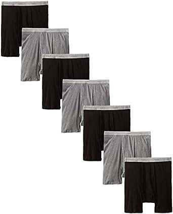 Hanes Men's 7-Pack Boxer Brief, Black/Grey, Small