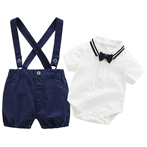 Baby Boys Gentleman Outfits Wedding Suits, Infant Short Sleeve Shirt+Bib Pants+Bow Tie Overalls Clothes Set by Boarnseorl (Image #1)