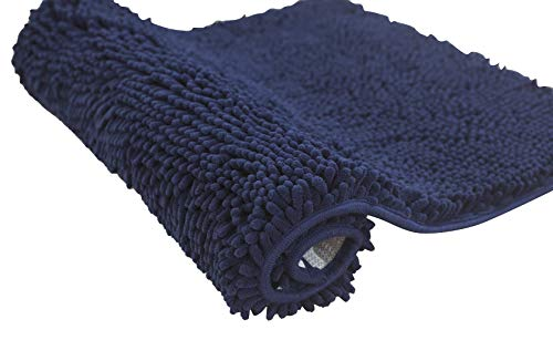 Bathroom Rug Mat 17″x24″ Non-Slip Navy Extra Thick Chenille Bath Mat Absorbent Bath Rug Perfect for Shower,Bath Room,Bedroom