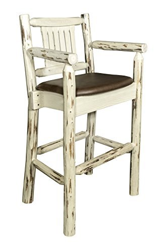 Montana Woodworks MWBSWCASSADD Montana Collection Captain's Barstool, Ready to Finish with Upholstered Seat, Saddle Pattern