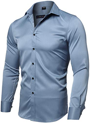 (FLY HAWK Mens Fiber Casual Button Up Slim Fit Collared Formal Shirts, Greyish Blue Button Down)