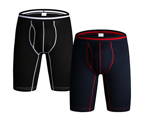 KEFITEVD Men's Athletic Cotton Long Leg Underwear Soft Performance Boxer Briefs with Open Fly, 2 Pack ()