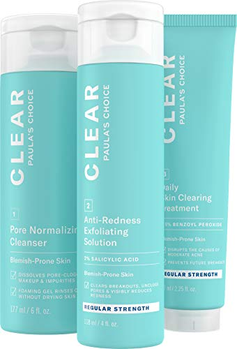 - Paula's Choice CLEAR Regular Strength Acne Kit | 2% Salicylic Acid & 2.5% Benzoyl Peroxide for Facial Acne & Pores | Redness Relief | PACKAGING MAY VARY