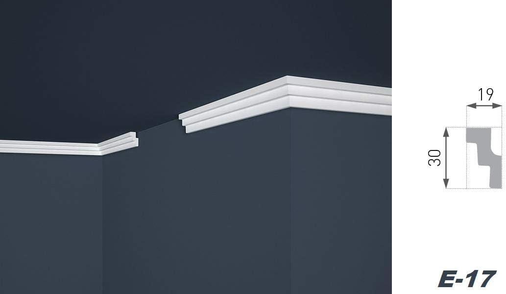 D/écoration 19 x 30 mm En polystyr/ène extrud/é Profil de chaise Moulure E-17 XPS Transmission de plafond et de mur 2 m 4 blanc L/ég/ère et stable
