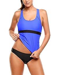 f2b40e64354 Ekouaer Two Piece Swimsuits Womens Racerback Tankini Top Sets Swimwear S-XXL