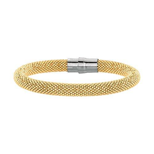 Bracelet en Argent Sterling 925perle 6mm en rhodium plaqué or PL couleur-20cm