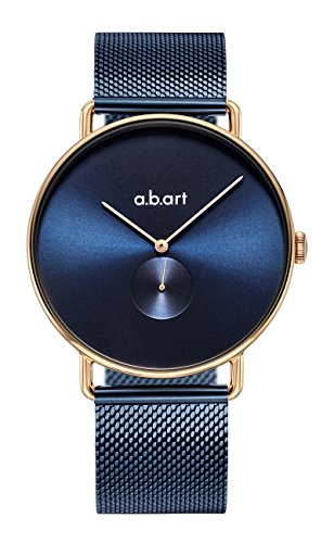 abart Watches FA41-012-5S Blue Dial Mesh Band Quartz Movement Rose Gold Case Bauhaus Watches for Men